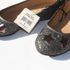 Girls Star Shoes Sparkle Flats Size 1 NWT
